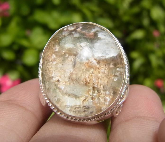 แหวนแก้วเข้าแร่สีเงินสีทองเรียงชั้นสวย เบอร์ 59 ตัวเรือนเงินแท้