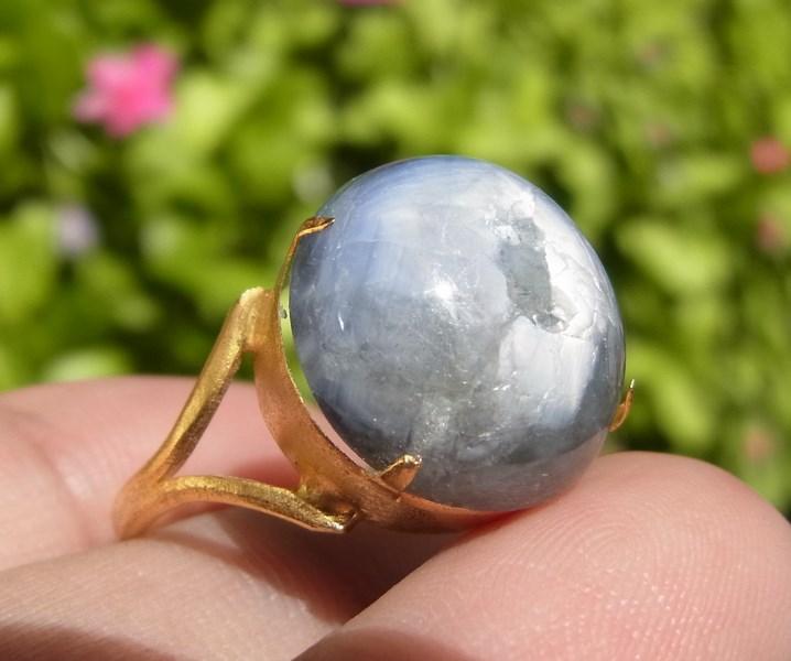 แหวนพลอยไพลินสตาร์ (นิหร่า) เบอร์ 60 ตัวเรือนชุบทองไมครอน