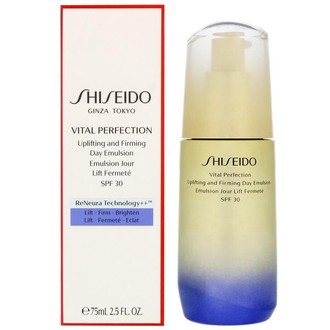 Shiseido Vital Perfection Uplifting and Firming Day Emulsion SPF30 PA+++ 75 ml. อิมัลชั่นที่ช่วยปกป้องผิวจากความแห้งกร้านและรังสียูวีในช่วงระหว่างวัน ทำให้ผิวรู้สึกยืดหยุ่นดูแน่นกระชับพร้อมลดเลือนจุดด่างดำ เนียนกระจ่างใส แลดูอ่อนเยาว์ขึ้น เนื้