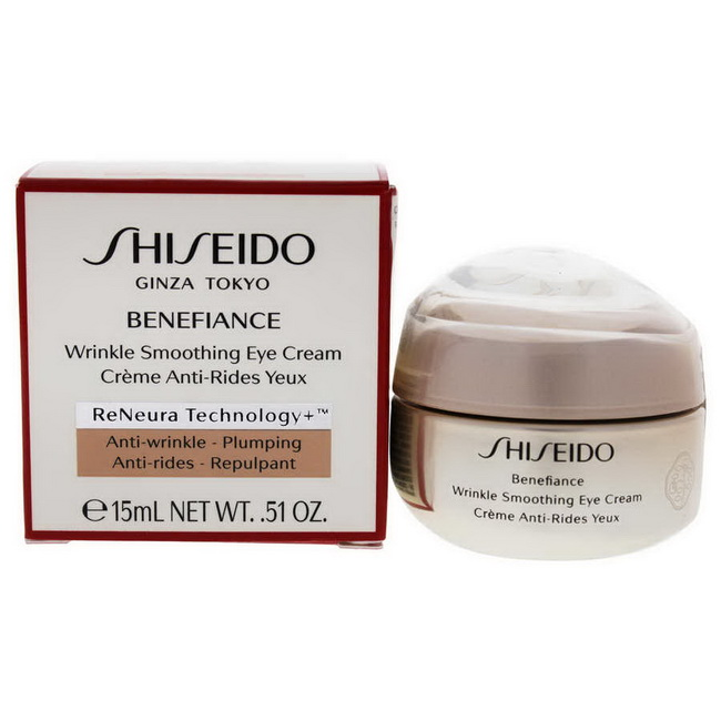 Shiseido Benefiance Wrinkle Smoothing Eye Cream 15 ml. (ReNeura Technology) ครีมบำรุงรอบดวงตาเข้มข้นที่จะช่วยลดเลือนริ้วรอยที่เกิดจากวัยความแห้งกร้าน ความเครียด และความหมองคล้ำ เพิ่มความเปล่งปลั่งกระจ่างใส พร้อมมอบความชุ่มชื้น ยาวนานถึง48 ชั่ว