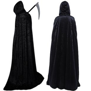 ++พร้อมส่ง++ผ้าคลุมกำมะหยี่สีดำ+ไม้ง้าวยมฑูล ผ้าคลุมแฟนซี ผ้าคลุมมีฮุูทสีดำ ผ้าคลุมพ่อมด แม่มด  vampire ยมทูต