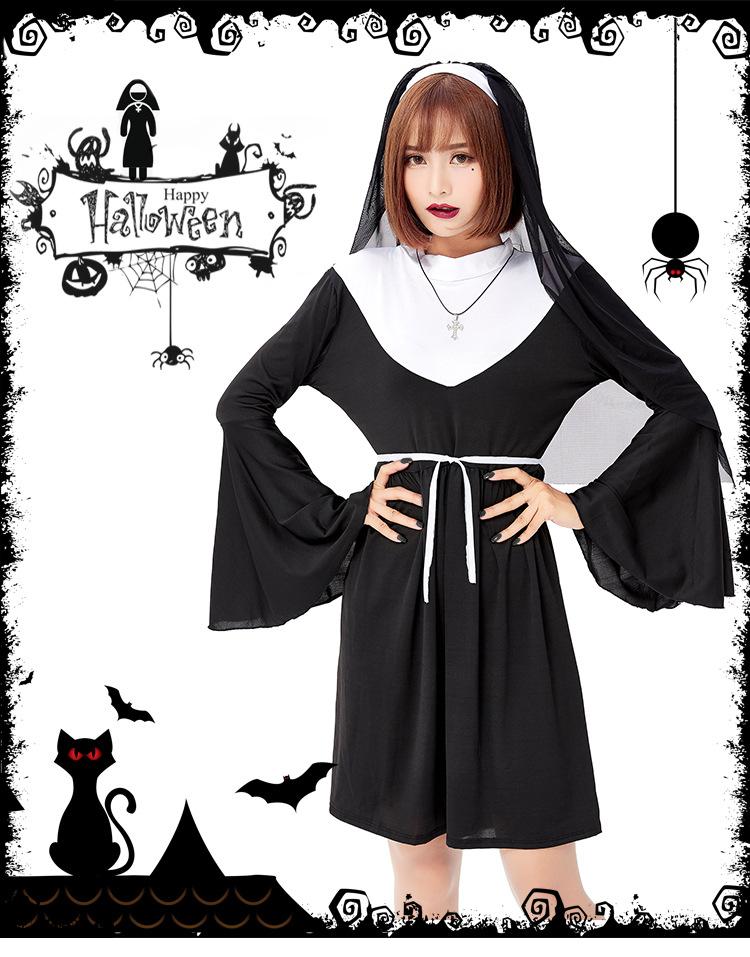 ++พร้อมส่ง+ชุดแฟนซีแม่ชีสีดำ ชุดแม่ชี The Nun แม่ชีเดอะนัน