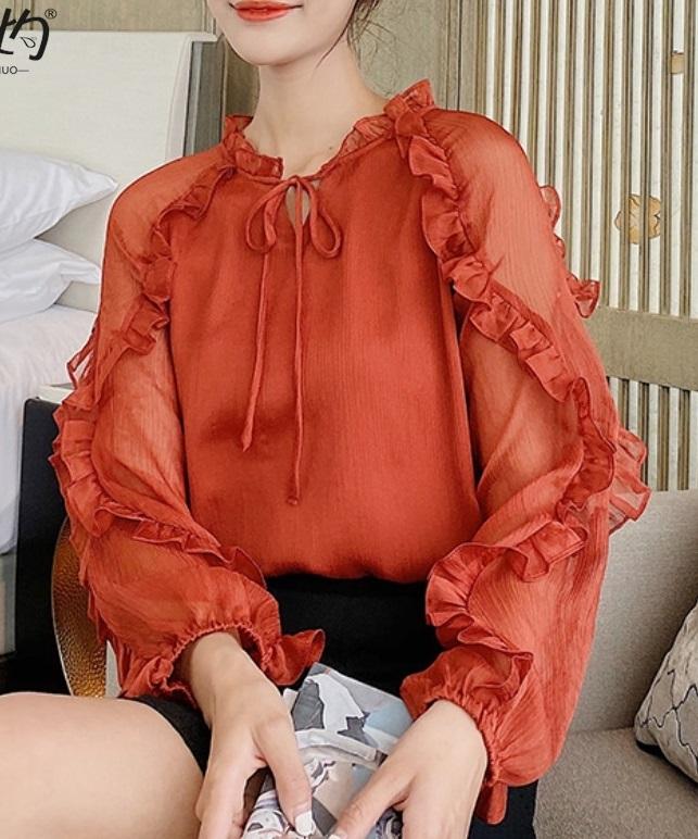 พรีออเดอร์ เสื้อแขนยาว ชีฟอง จั๊มแขน แขนตุ๊กตา ซีทรูที่แขน ใส่ออกงาน หรือใส่ทำงานได้ สี ส้ม