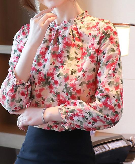 พรีออเดอร์ เสื้อแขนยาว ชีฟอง เสื้อลายดอกไม้ กระดุมหน้า จั๊มแขน ใส่ทำงานหรือใส่ออกงานได้ มีซับใน สี ชมพู ตามภาพ