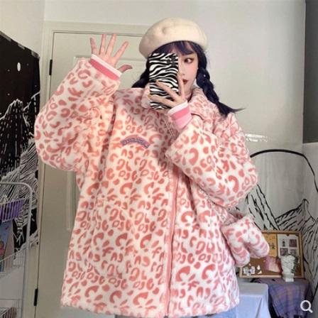 (M/L) เสื้อกันหนาว ลายเสือดาว สีชมพู (ซิปหน้า มีฮู้ด)