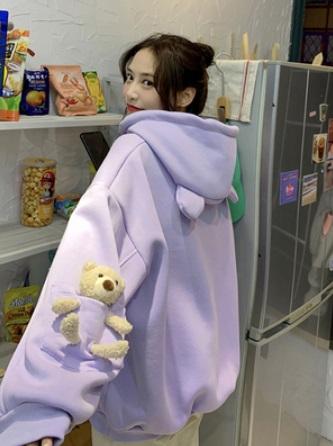 (ฟรีไซส์) (2สี) ฮู้ด เสื้อกันหนาว แต่งตุ๊กตาหมี