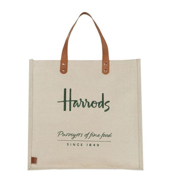 Harrods กระเป๋าช้อปปิ้ง รุ่น  Embroidered Jute Grocery Shopper Bag ***พร้อมส่ง