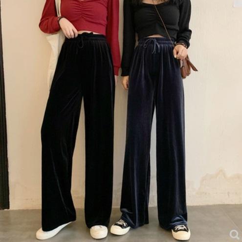 (ฟรีไซส์) กางเกง ขายาว ผูกเชือก ผ้ากำมะหยี่