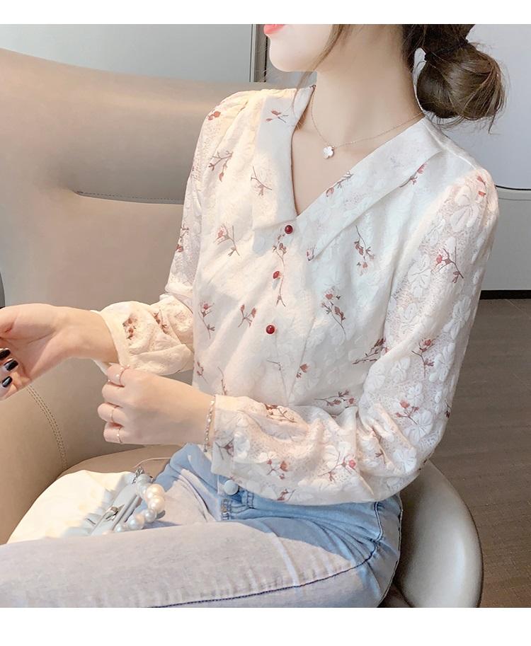 พรีออเดอร์ เสื้อแขนยาว คอปก เสื้อลายดอกไม้ คอตตอนผสม เนื้อหนา ใส่สบาย คอปก สี ขาว