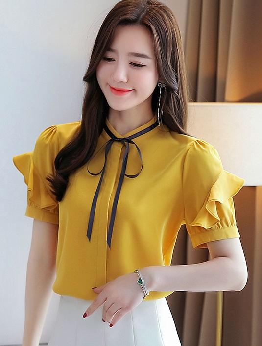 พรีออเดอร์ เสื้อแฟชั่น แขนสั้น คอจีน จั๊มแขน เสื้อผ้าเกาหลีสวย ๆ ราคาถูก ใส่ทำงานได้ สี เหลือง กรม ขาว