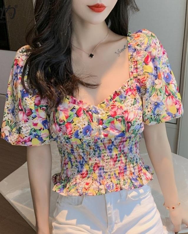 พรีออเดอร์ เสื้อครอบ แฟชั่น เสื้อผ้าแฟชั่นเกาหลีสวย ๆ ราคาถูก ลายดอกไม้ จั๊มเอว ผ้าคอตตอนผสม สี ลายดอกไม้