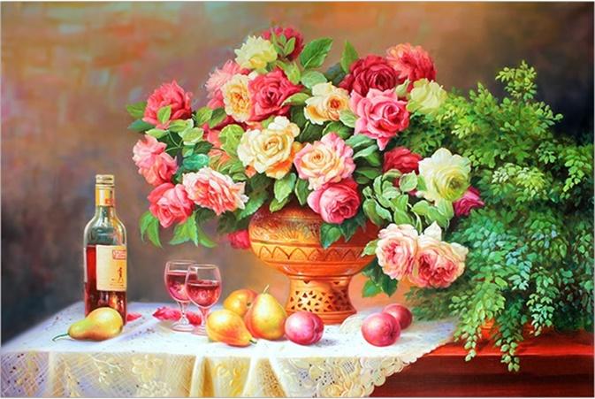 ดอกกุหลาบกับผลไม้ (พิมพ์ลาย)