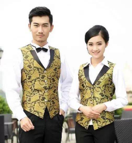 pre-order **เสื้อกั๊ก เสื้อพนักงานโรงแรม พนักงานรีสอร์ท   เสื้อฟอร์มพนักงาน ยูนิฟอร์ม เสื้อชาย - เสื้อหญิง (เฉพาะเสื้อตัวเดียว ไม่รวมอุปกรณ์เสริม) สีตามภาพ ไซร์ M L XL XXL 3XL 4XL ,