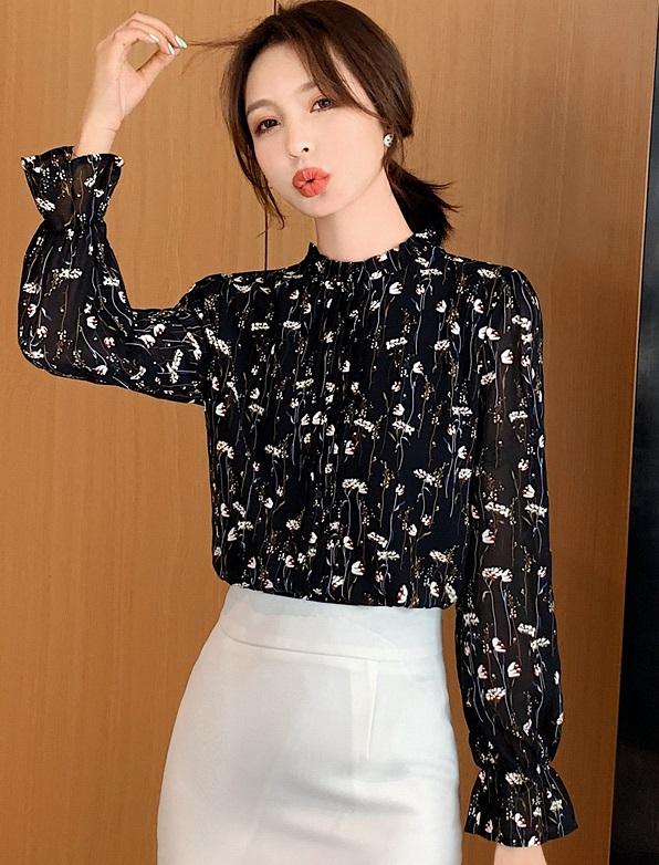 พรีออเดอร์ เสื้อแขนยาว จั๊มแขน เสื้อชีฟอง คอสูง เสื้อผ้าแฟชั่นเกาหลี ราคาถูก ชุดสวย ๆ ออกงาน ชุดทำงาน สี ดำ ลายดอกไม้แขนยาว