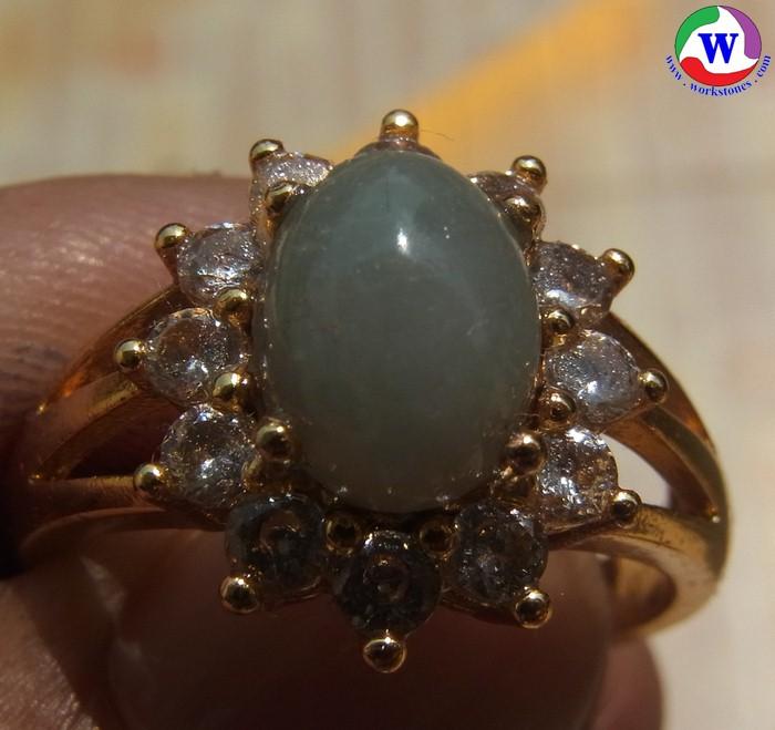 แหวนทองเหลืองหญิง 4.77 กรัม เบอร์ 61 แก้วโป่งข่ามนำโชค ชนิดแก้วฟ้านวลล้อม cz เส้นผ่าวงใน 20 มม.