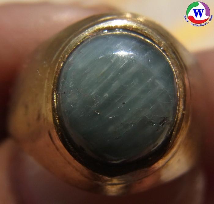 แหวนยูโร 4.01 กรัม เบอร์ 52 แก้วโป่งข่ามนำโชค ชนิดแก้วฟ้าพิรุณเข้ม เส้นผ่าวงใน 17.5 มม.