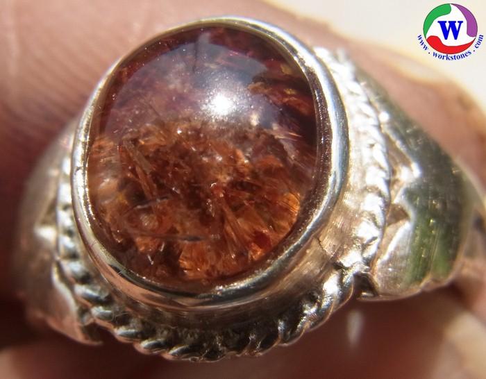 แหวนเงิน 925 หญิง 4.44 กรัม เบอร์ 53 แก้วโป่งข่ามนำโชค ชนิดแก้วเข้าแก้วหมู่สีแดงเข้ม เส้นผ่าวงใน 17.5 มม.