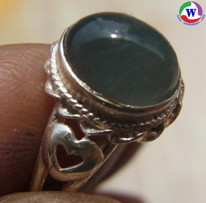 แหวนเงินหญิง 925  หนัก 2.78 กรัม เบอร์ 53 แก้วโป่งข่ามนำโชค ชนิดแก้วฟ้านวลเมืองเถิน