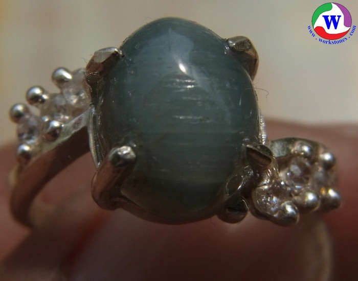 แหวนเงินหญิง 925  หนัก 3.24 กรัม เบอร์ 56 แก้วโป่งข่ามนำโชค ชนิดแก้วฟ้าแร cz 6 เม็ด จากเมืองเถิน