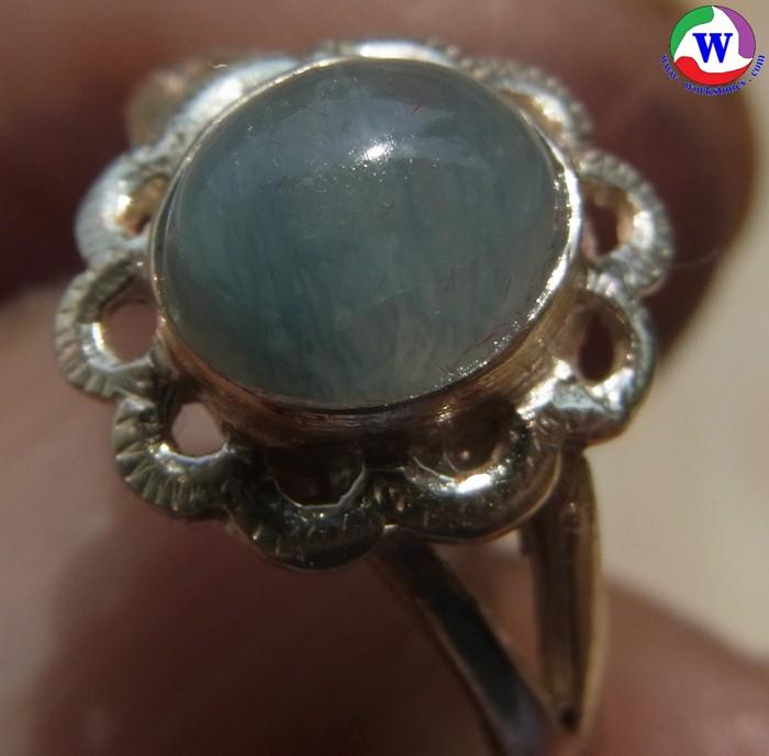 แหวนเงินหญิง 925  หนัก 2.76 กรัม เบอร์ 57 แก้วโป่งข่ามนำโชค ชนิดแก้วฟ้านวล จากเมืองเถิน