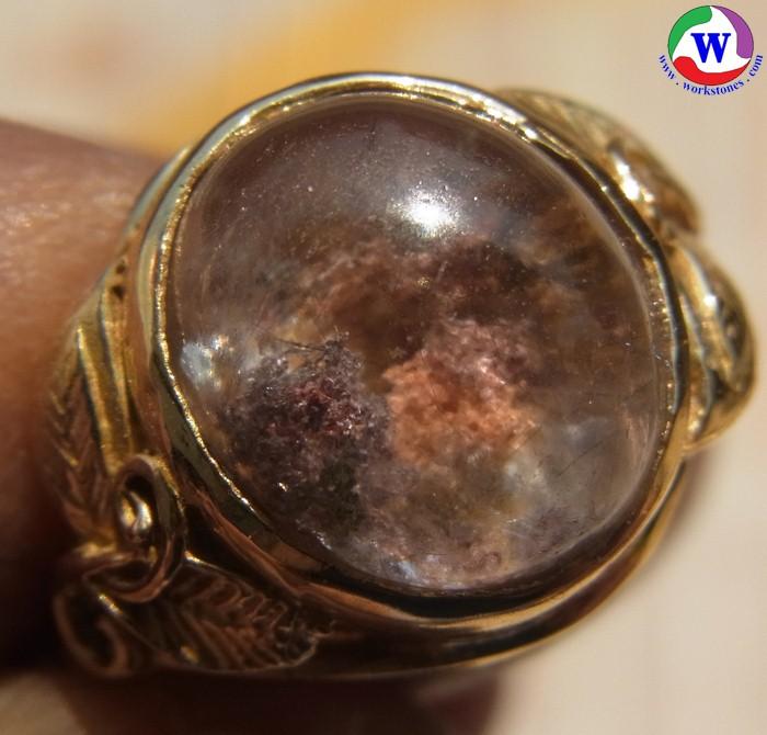 แหวนทองเหลืองหญิง 3.98 กรัม เบอร์ 56 แก้วโป่งข่ามนำโชค ชนิดแก้ว 3 กษัตริย์ 3 สกุล  7 อย่าง