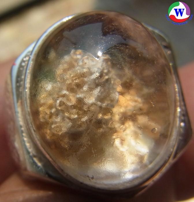 แหวนเงินชาย 925 หนัก 8.74 กรัม เบอร์ 63 ครึ่ง แก้วโป่งข่ามนำโชค ชนิดแก้วปวกกอดก้อนกลมสีทอง