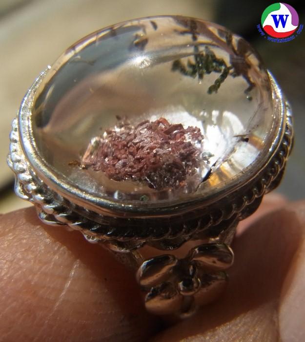 แหวนเงินหญิง 925 หนัก 5.17 กรัม เบอร์ 59 แก้วโป่งข่ามนำโชค ชนิดแก้ว 3 กษัตริย์  3 สกุล  4 อย่าง