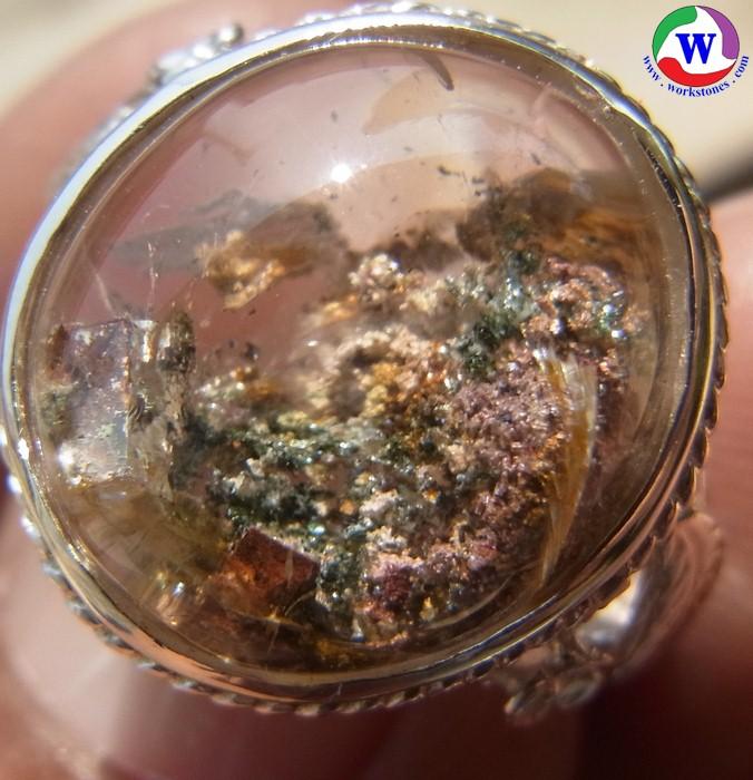 แหวนเงินหญิง 925 หนัก 5.93 กรัม เบอร์ 53 แก้วโป่งข่ามนำโชค ชนิดแก้ว 3 กษัตริย์ 3 สกุล 7 อย่าง