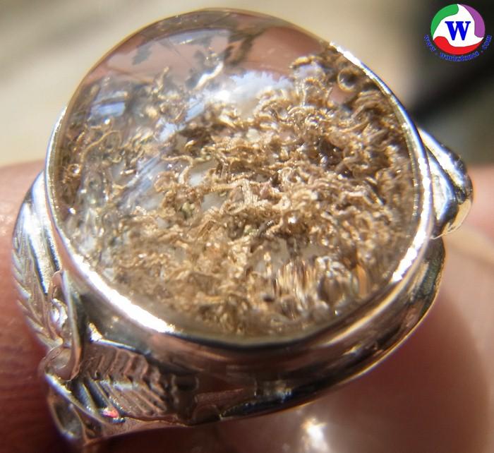 แหวนเงินหญิง 925 หนัก 4.43 กรัม เบอร์ 55 แก้วโป่งข่ามนำโชค ชนิดแก้วปวกสีทองฟูเต็มเม็ด กาบรุ้ง