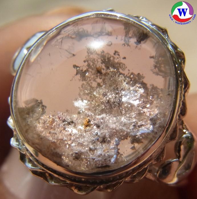 แหวนเงินหญิง 925 หนัก 3.68 กรัม เบอร์ 53 แก้วโป่งข่ามนำโชค ชนิดแก้วปวกสุวรรณสาม เงินทองนาค สวยใสแวววาว