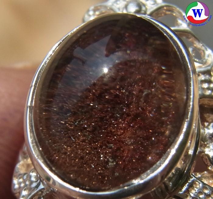 แหวนเงินหญิง 925 หนัก 5.53 กรัม เบอร์ 55 แก้วโป่งข่ามนำโชค ชนิดแก้วปวกพื้นสีแดงแซมปวกเขียว มีประกายเกล็กเพชรระยิบระยับ จากเมืองเถิน ลำปาง