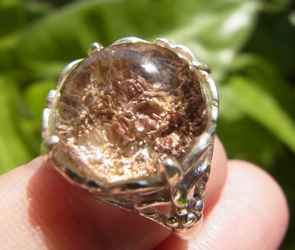 แหวนแก้วปวกสีทอง ชมพูโอรส เบอร์ 57 ตัวเรือนเงินแท้