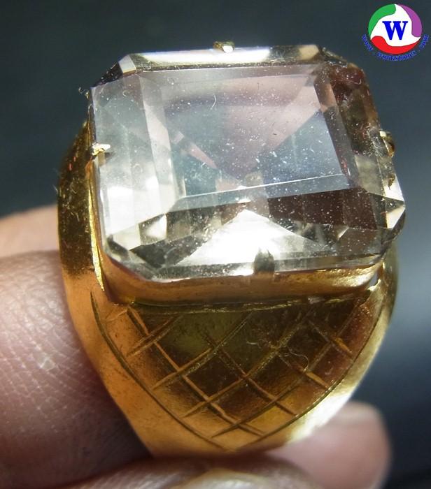 แหวนโลหะชุบทอง 7.13 กรัม Smoky quartz เบอร์ 65 เส้นผ่าวงใน 22.5 มม.