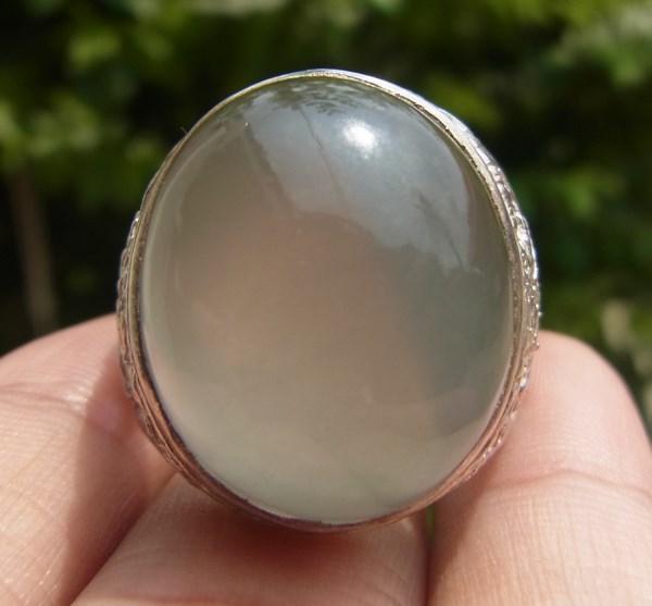 แหวนแก้วโป่งข่ามนำโชค เบอร์ 60 แก้วหมอกมุงเมือง 2 สี ตัวเรือนเงินแท้