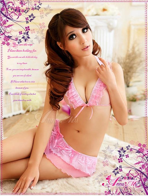 ชุดเซ็กซี่ บิกินี่ ซีทรูสีชมพู สวยหวาน