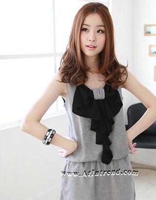 เดรส ชุดเดรส ชุดกระโปรง เดรสวัยรุ่น เดรสออกงาน สีเทา สีส้ม สีดำ เดรสน่ารัก เดรสเกาหลี Dress ผู้หญิง แฟชั่นเกาหลีหญิง
