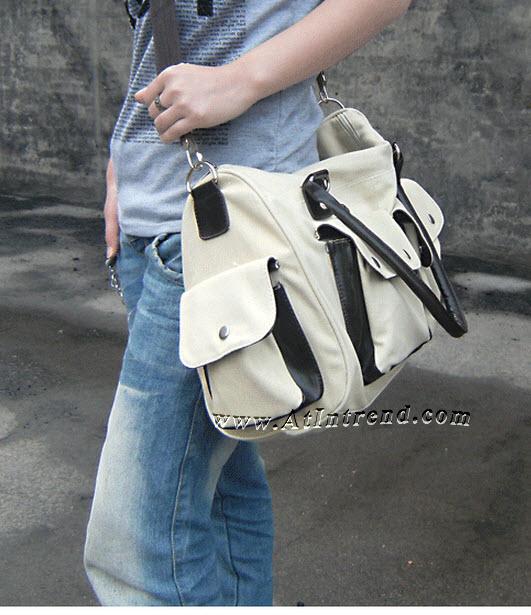 กระเป๋าสะพายไหล่ กระเป๋าถือ ชาย หญิง กระเป๋าสะพายเท่ๆ กระเป๋าผ้า สีขาว สีดำ กระเป๋าแฟชั่นชาย กระเป๋าแฟชั่นเกาหลี กระเป๋าวัยรุ่นชาย แฟชั่นชายเกาหลี กระเป๋าสะพายข้าง