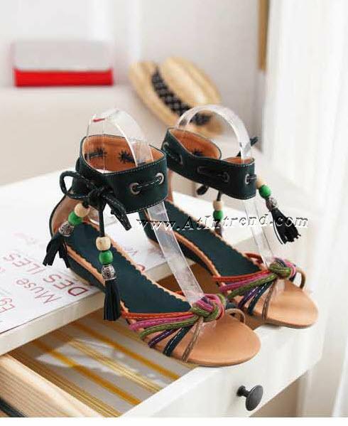 รองเท้า รองเท้าผู้หญิง รองเท้าแฟชั่นผู้หญิง รองเท้าแตะ รองเท้าแตะรัดข้อ สีม่วง สีน้ำตาล สีเขียวเข้ม รองเท้ารัดข้อ รองเท้าผูก รองเท้าหญิงน่ารักๆ ไซส์ 36 37 38 39 แฟชั่นหญิงเกาหลี