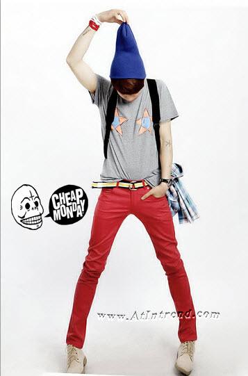 กางเกงยีนส์ Cheap Monday Black ชาย สีแดง สกินนี่ กางเกงยีนส์ขาเดฟ ขาเดฟ ไซส์ 27 28 29 30 31 32 33 34