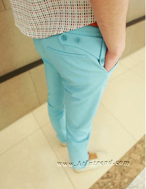 กางเกง กางเกงขายาว กางเกงขายาวชาย กางเกงเข้ารูป แบบกระดุมท้าย สีครามน้ำเงิน สีฟ้า สีครีม ขาเดฟ กางเกงแฟชั่นชาย กางเกงแฟชั่นเกาหลีชาย กางเกงผู้ชาย กางเกงแฟชั่น กางเกงขายาว แฟชั่นเกาหลี