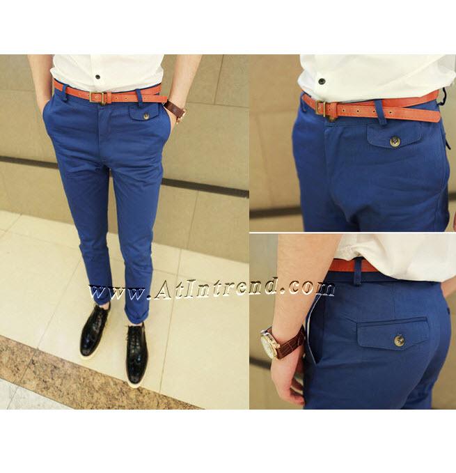 กางเกง กางเกงขายาว กางเกงขายาวชาย กางเกงเข้ารูป สีคราม ขาเดฟ กางเกงแฟชั่นชาย กางเกงแฟชั่นเกาหลีชาย กางเกงผู้ชาย กางเกงแฟชั่น กางเกงขายาว แฟชั่นเกาหลี