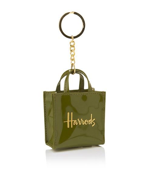 Harrods แท้ - Signature Shopper Keyring สี Green   (พร้อมส่ง)