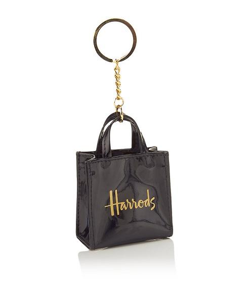 ร้านขาย Harrods - Signature Shopper Keyring สี Black  (พร้อมส่ง)