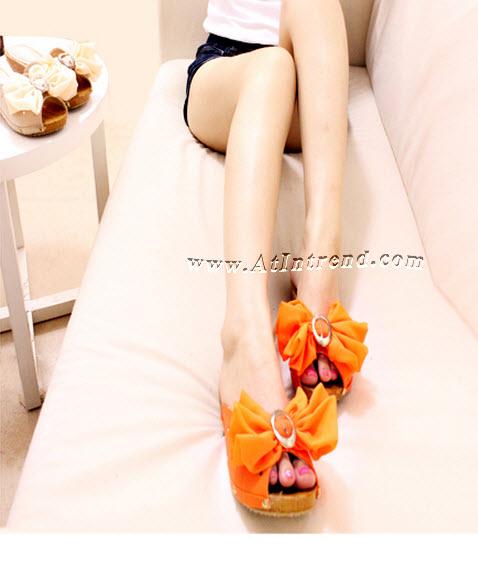 รองเท้า รองเท้าผู้หญิง รองเท้าแฟชั่นผู้หญิง รองเท้าแตะ รองเท้าหุ้มส้น สีครีม สีส้ม รองเท้าหญิงน่ารักๆ ไซส์ 35 36 37 38 39 แฟชั่นหญิงเกาหลี