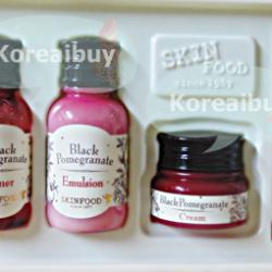 (พร้อมส่่ง) Skinfood black pomgranate premium kit Gift set 4 ea toner 15ml+emulsion 15ml+cream5g+serum 10ml