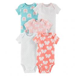 Carter's 5-Pack 5-Pack Short-Sleeve Bodysuits, Butterfly