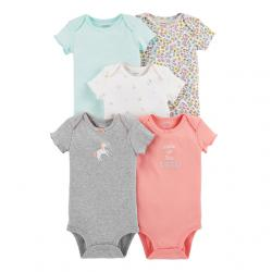 Carter's 5-Pack 5-Pack Short-Sleeve Bodysuits, Floral Unicorn