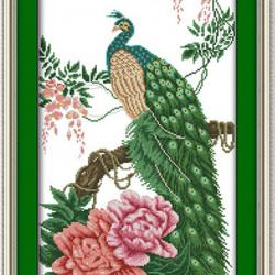 Peacock with roses (พิมพ์ลาย)